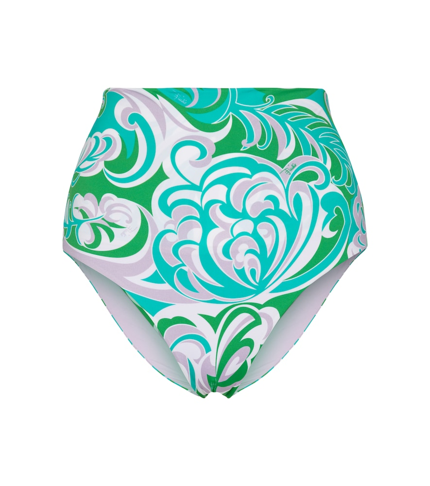High-rise printed bikini bottoms