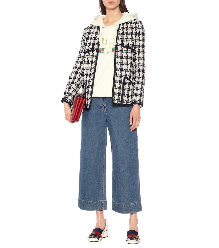 Houndstooth tweed wool-blend jacket by Gucci