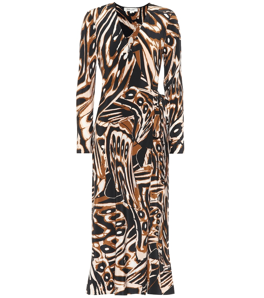 Tilly printed silk midi wrap dress