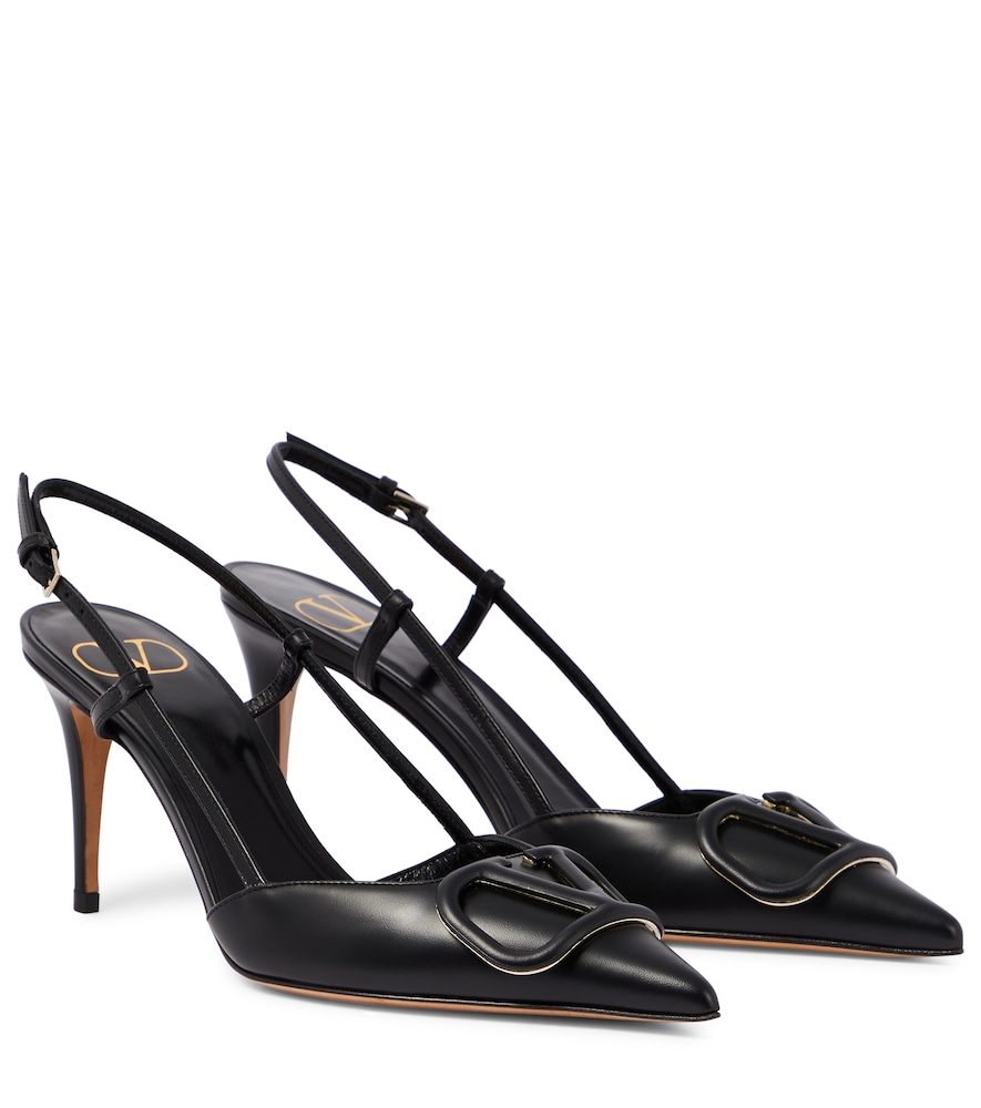 VALENTINO VLOGO SLINGBACK LEATHER PUMPS