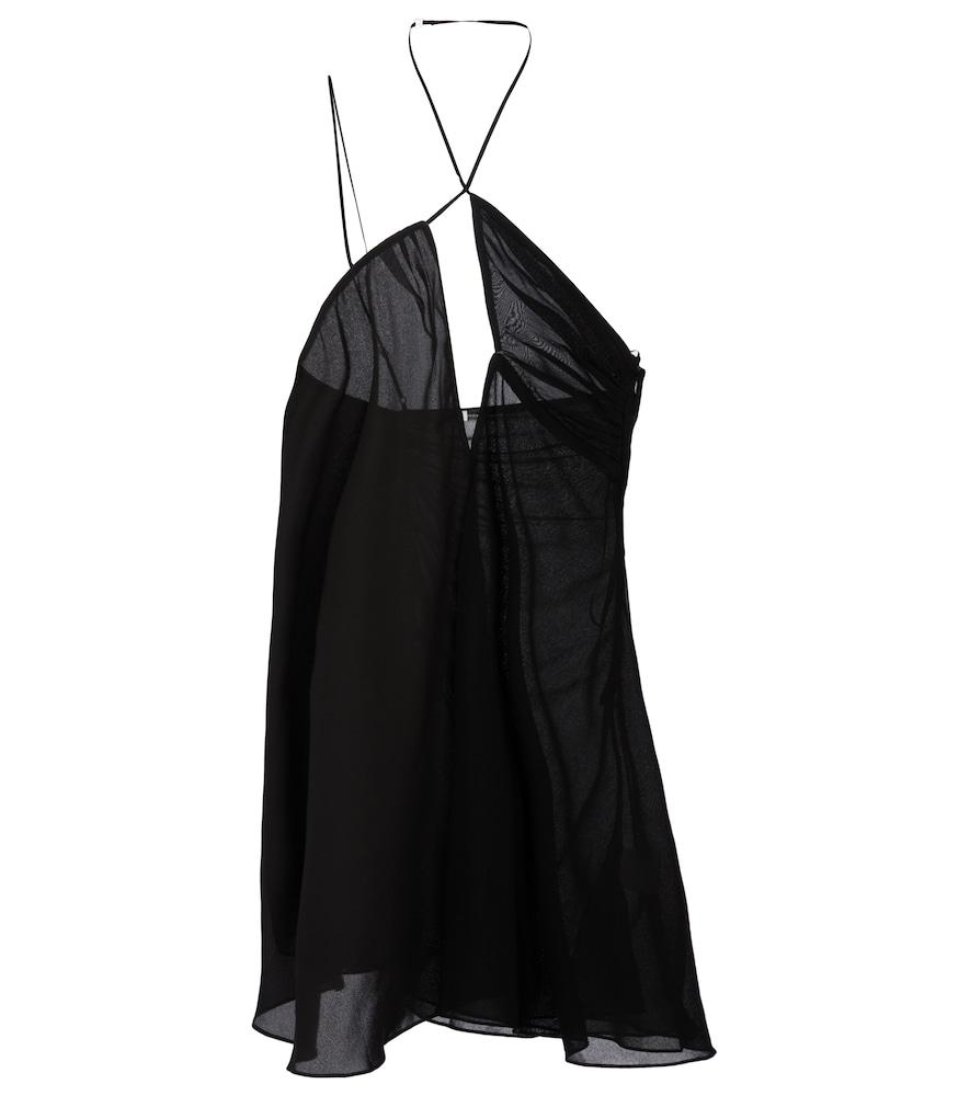 Nensi Dojaka Cross Front Tulle Mini Dress In Black