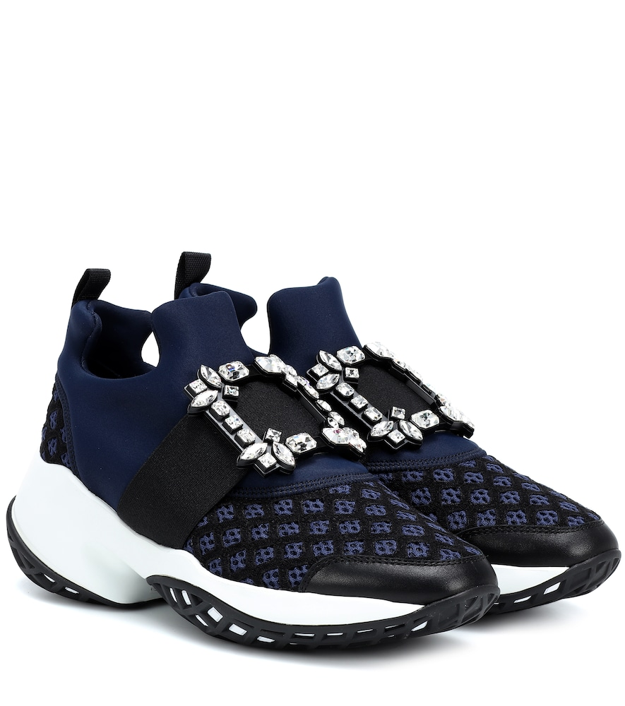 Roger Vivier Viv' Run Strass-Embellished Scuba And Leather Trainers In Blue
