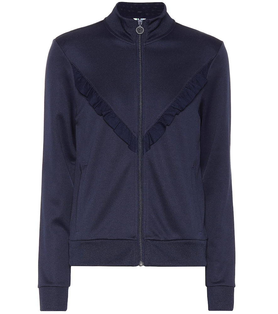 Tory Sport Ruffled Stretch-knit Track Jacket In Navy Blue