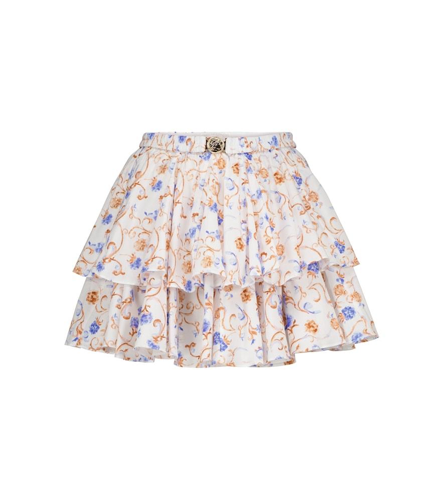 Reign floral cotton-blend miniskirt