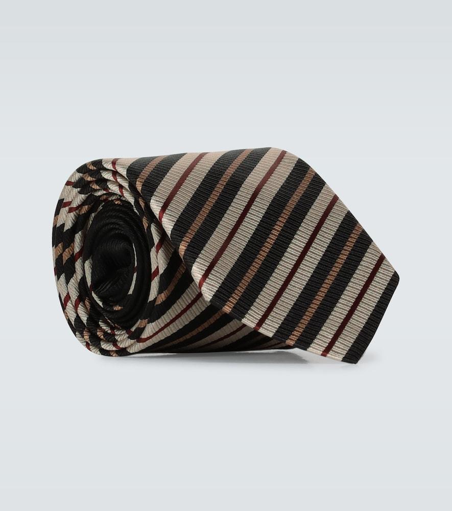 Cravate en soie à rayures diagonales - Dries Van Noten - Modalova