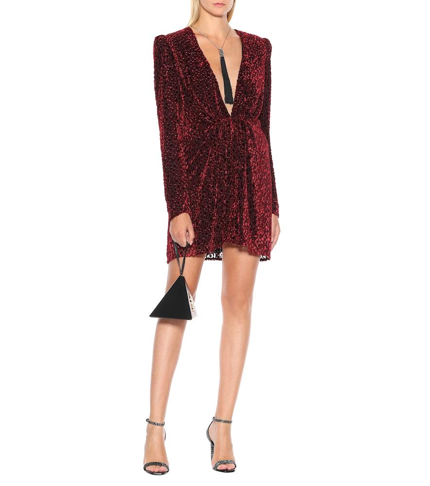 Flocked velvet silk-blend dress by Saint Laurent