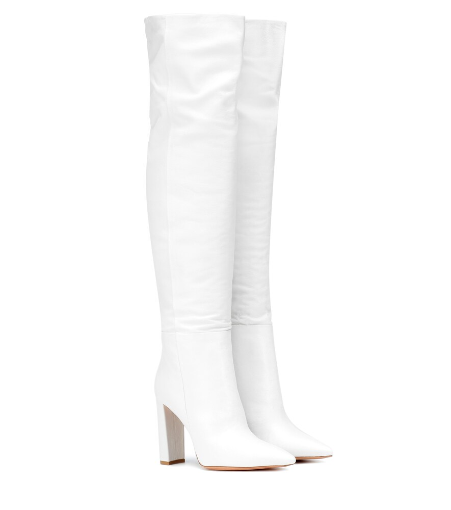 ALEXANDRE BIRMAN 100Mm Anna Slouchy Leather Boots in White