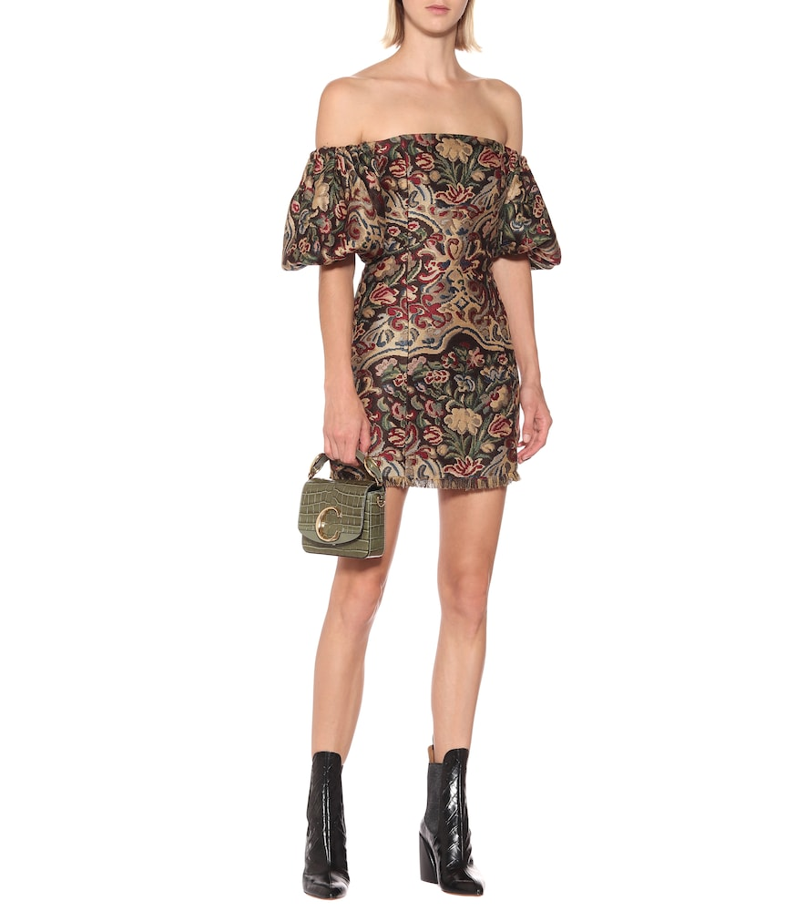 Off-the-shoulder jacquard minidress by Etro