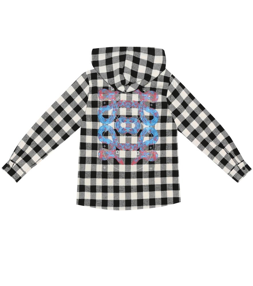 Chemise à capuche à carreaux en coton mélangé