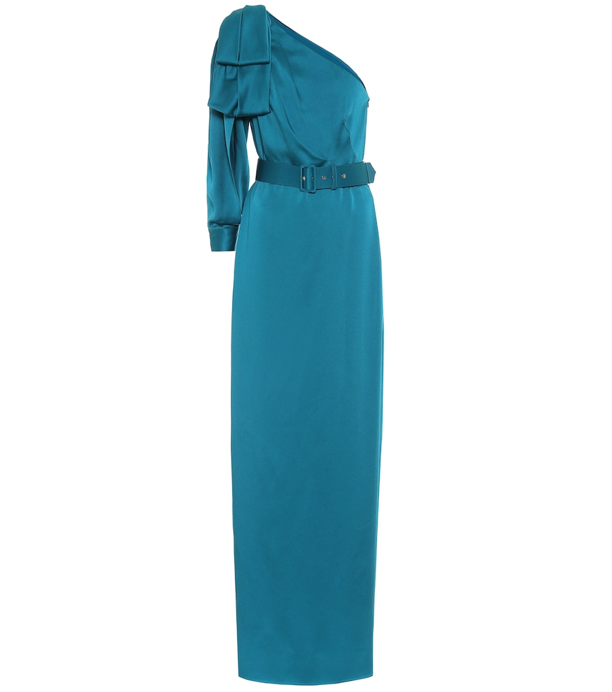 Peter Pilotto One-shoulder Satin Gown In Blue