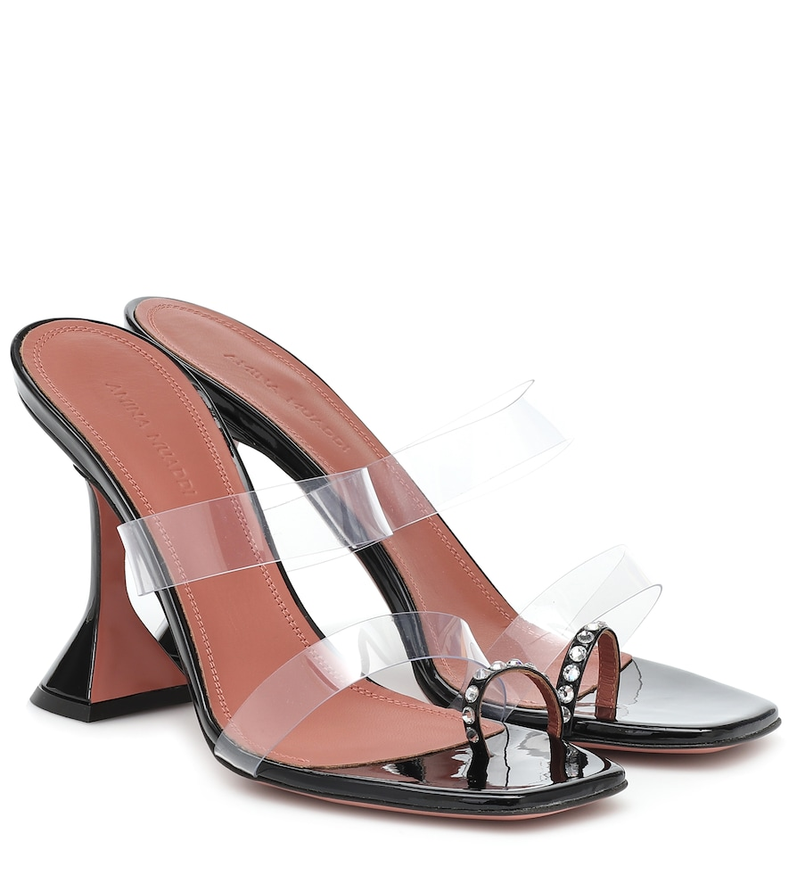 Amina Muaddi Sami Crystal-embellished Patent-leather And Pvc Sandals In Black