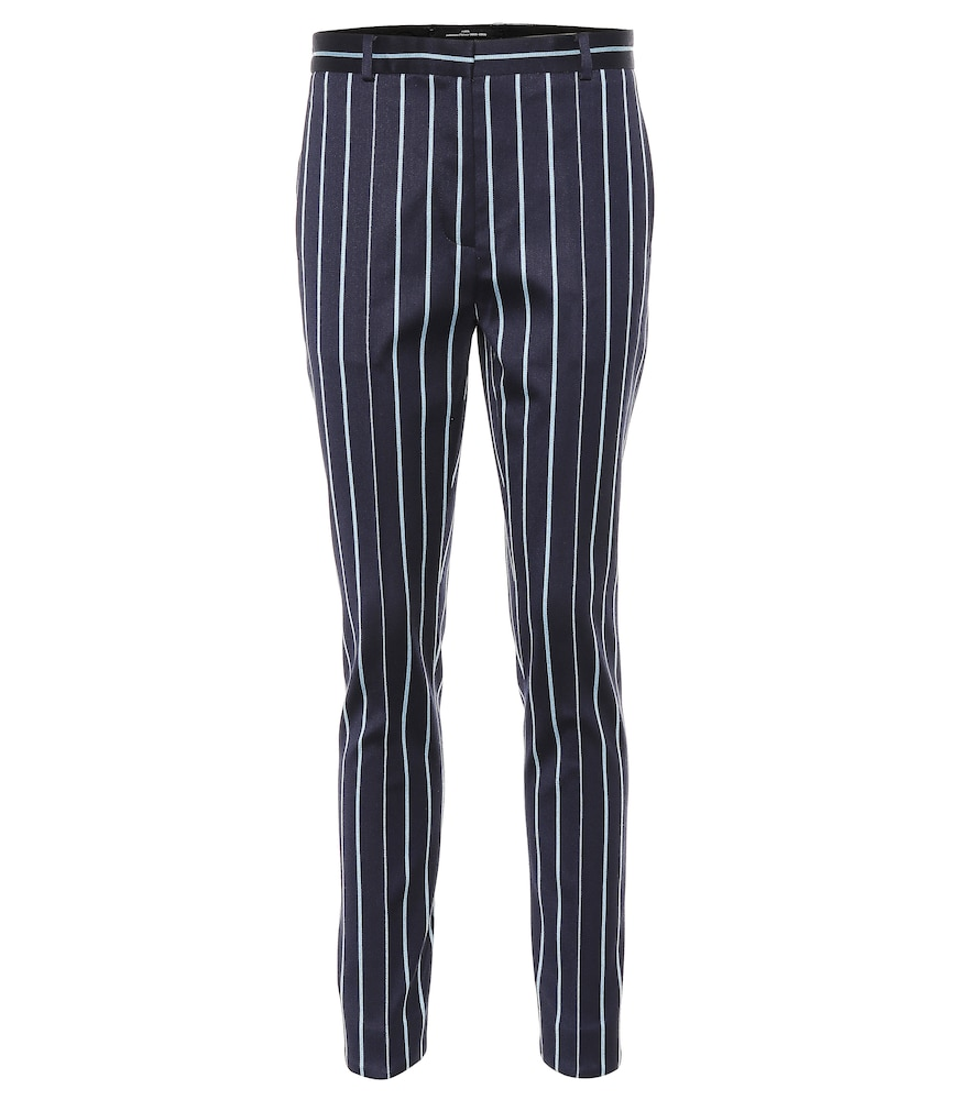ROKH Striped Wool And Cotton Pants in Blue