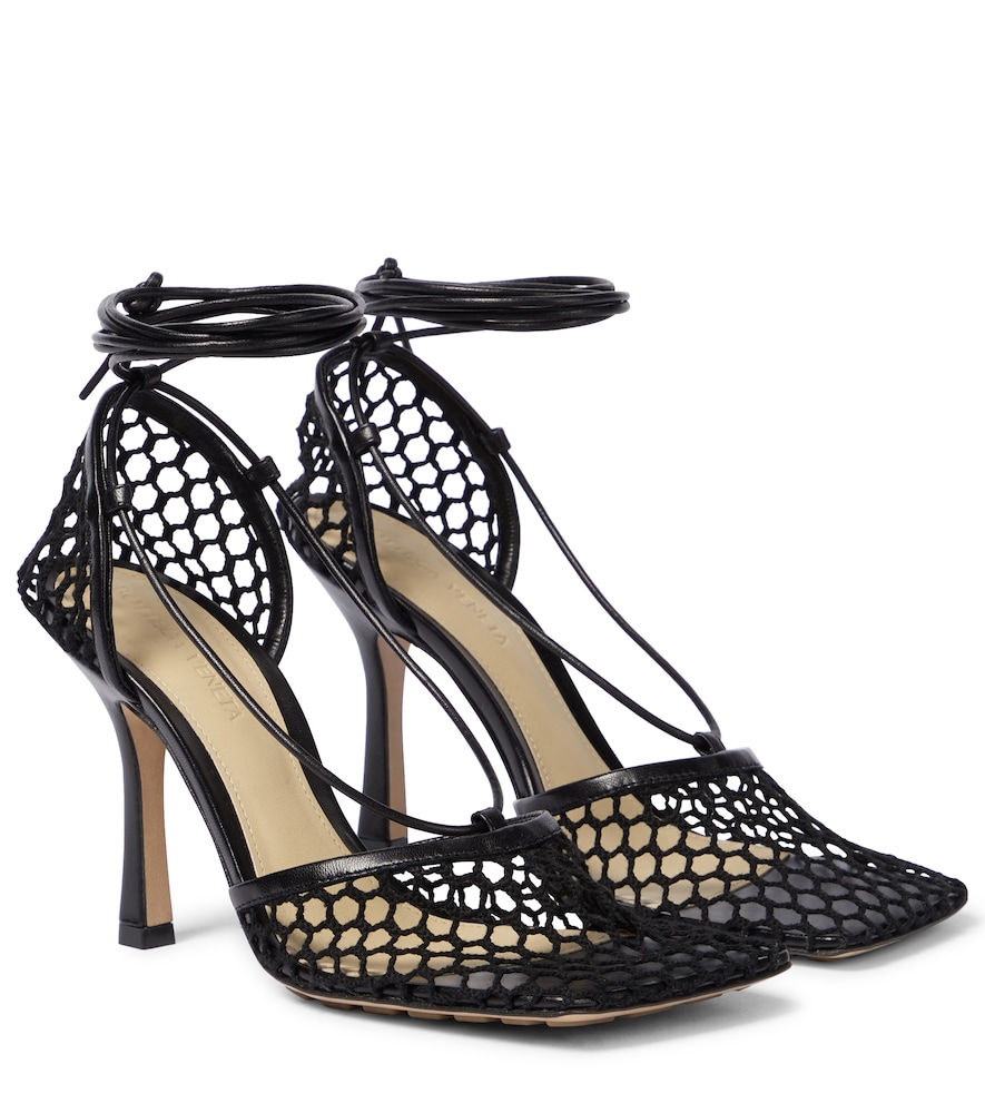 Stretch leather-trimmed mesh pumps