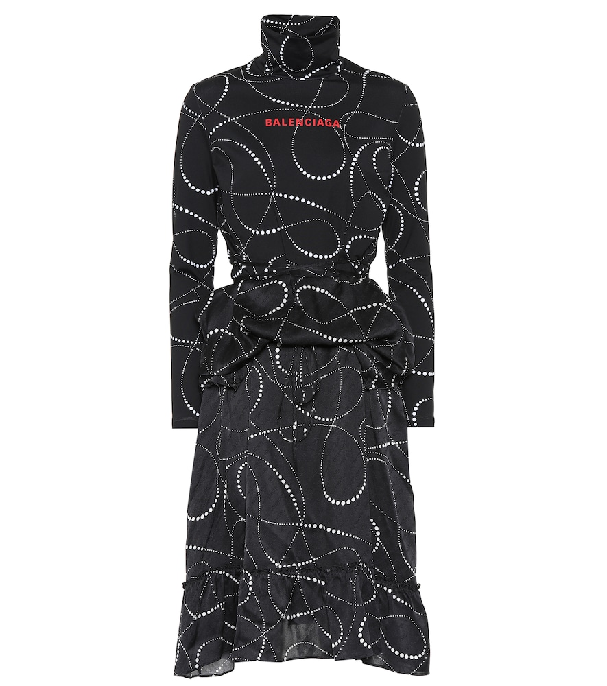 Printed Jersey And Silk-Jacquard Turtleneck Dress in Black