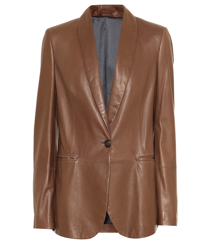 Shawl-Collar One-Button Leather Blazer W/ Monili Trim, Female