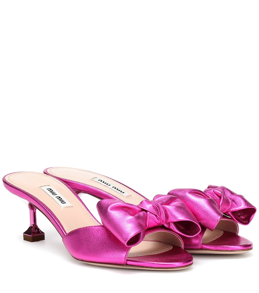Metallic Leather Sandals in Pink