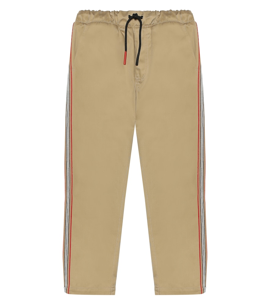 Burberry Kids' Curran Drawstring Chino Pants W/ Icon Stripe Sides In Beige