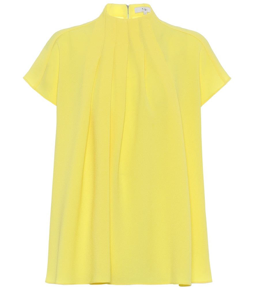 Tibi Esme Crepe Shirred High-neck Top In Yellow