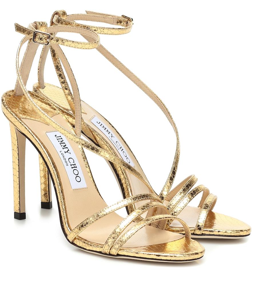 Jimmy Choo High heels TESCA 100 METALLIC LEATHER SANDALS