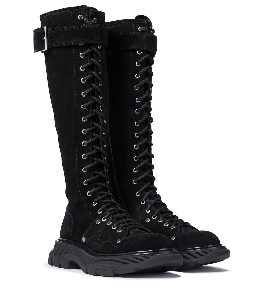 Tread suede knee-high boots