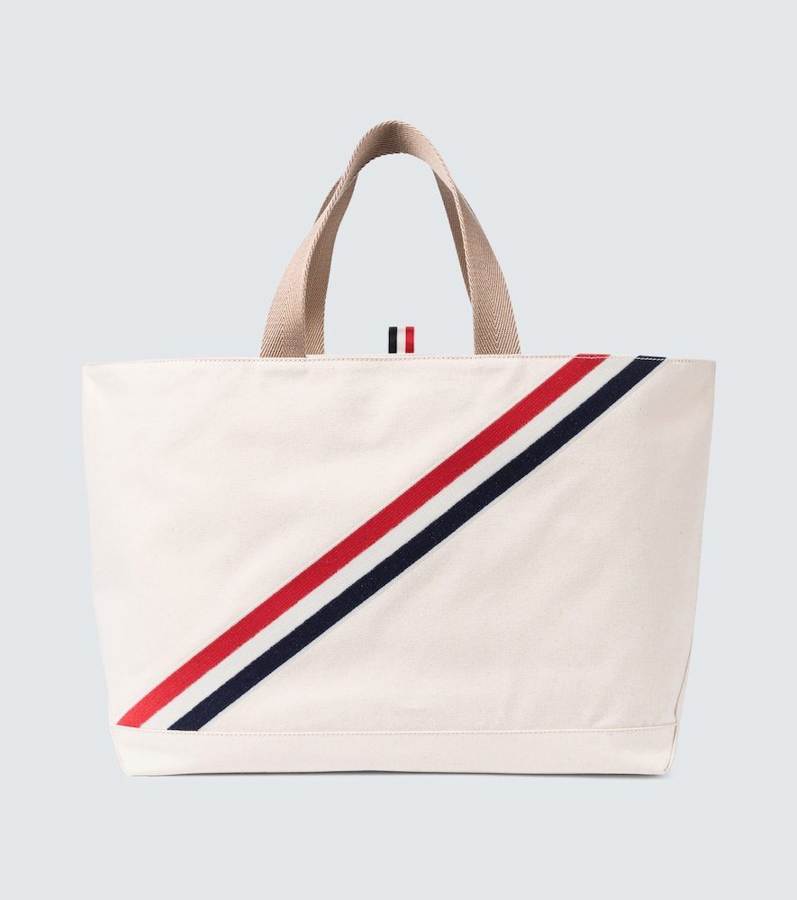 Thom Browne STRIPED CANVAS TOTE BAG