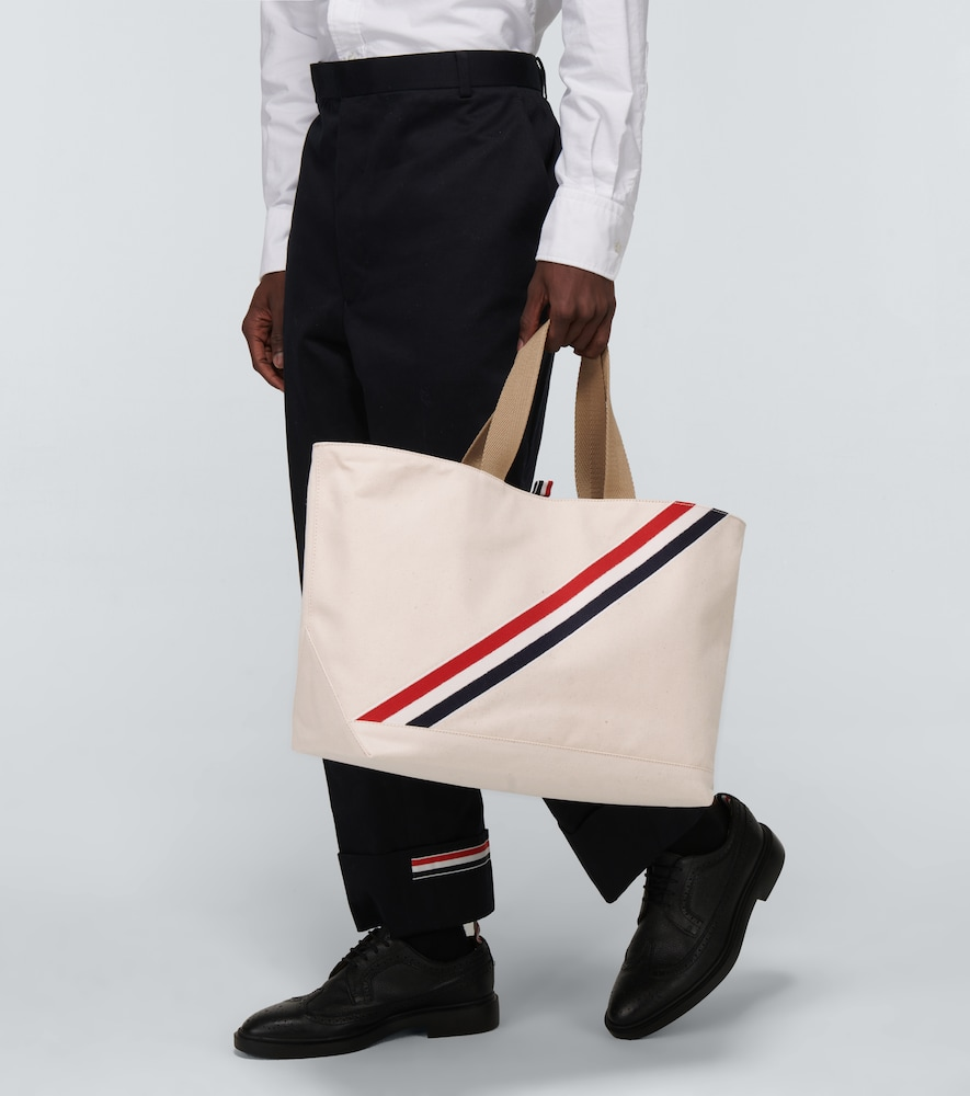 THOM BROWNE Leathers STRIPED CANVAS TOTE BAG