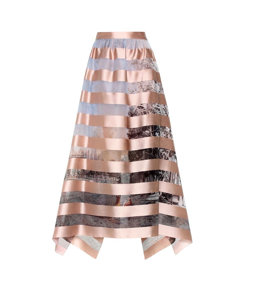 Striped silk-blend skirt