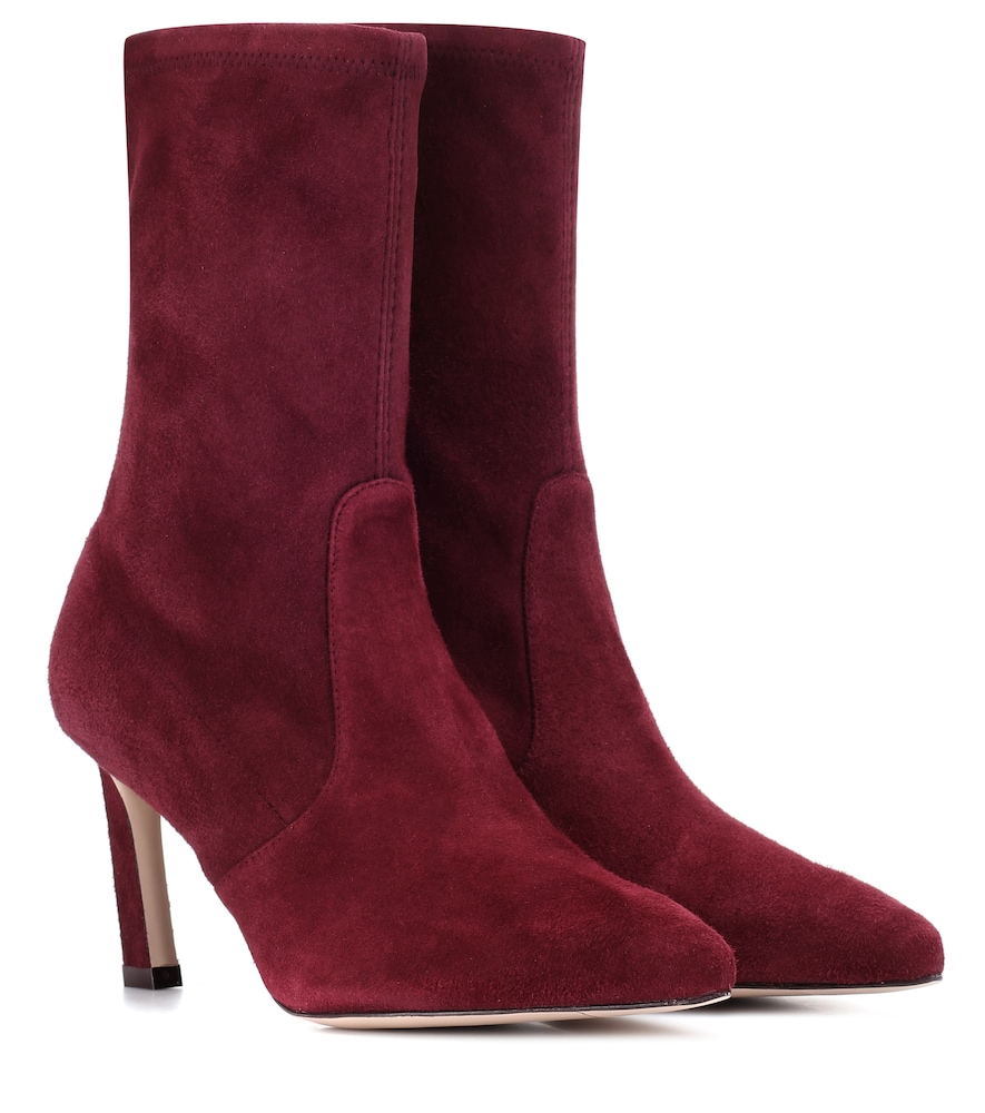 Rapture Mid Calf Stretch Suede Booties, Red