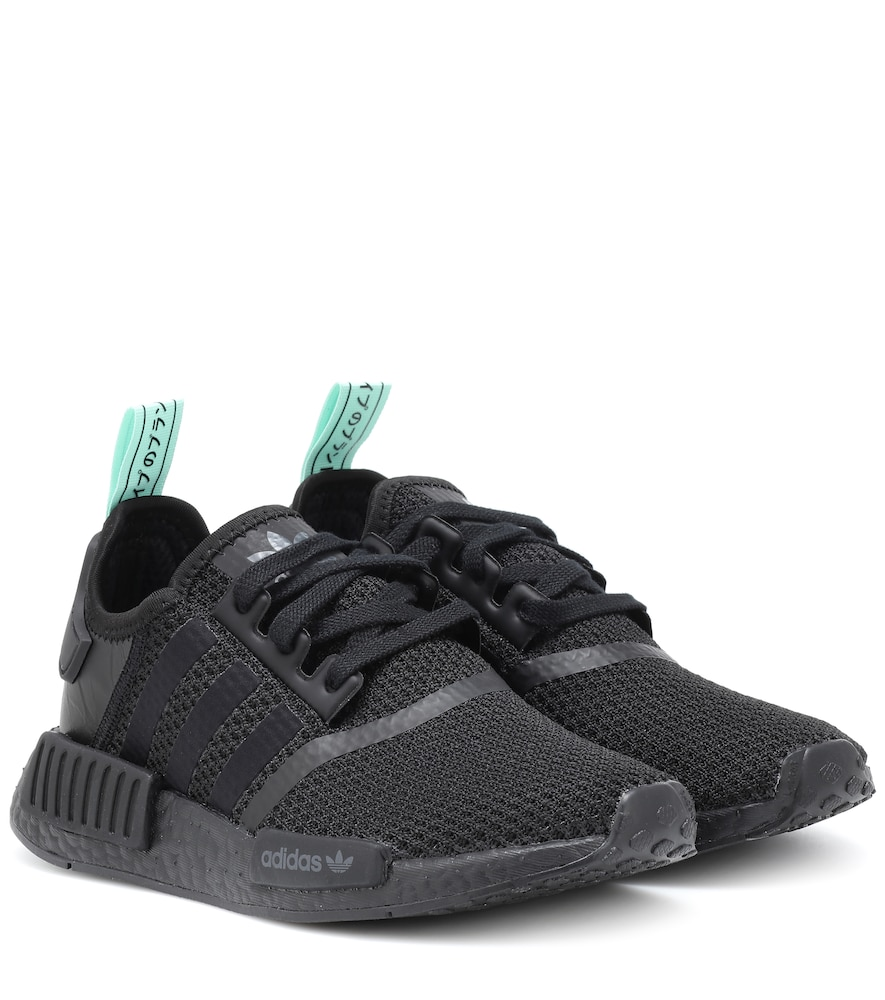 Nmd_R1 Rubber And Leather-Trimmed Stretch-Knit Sneakers, Black