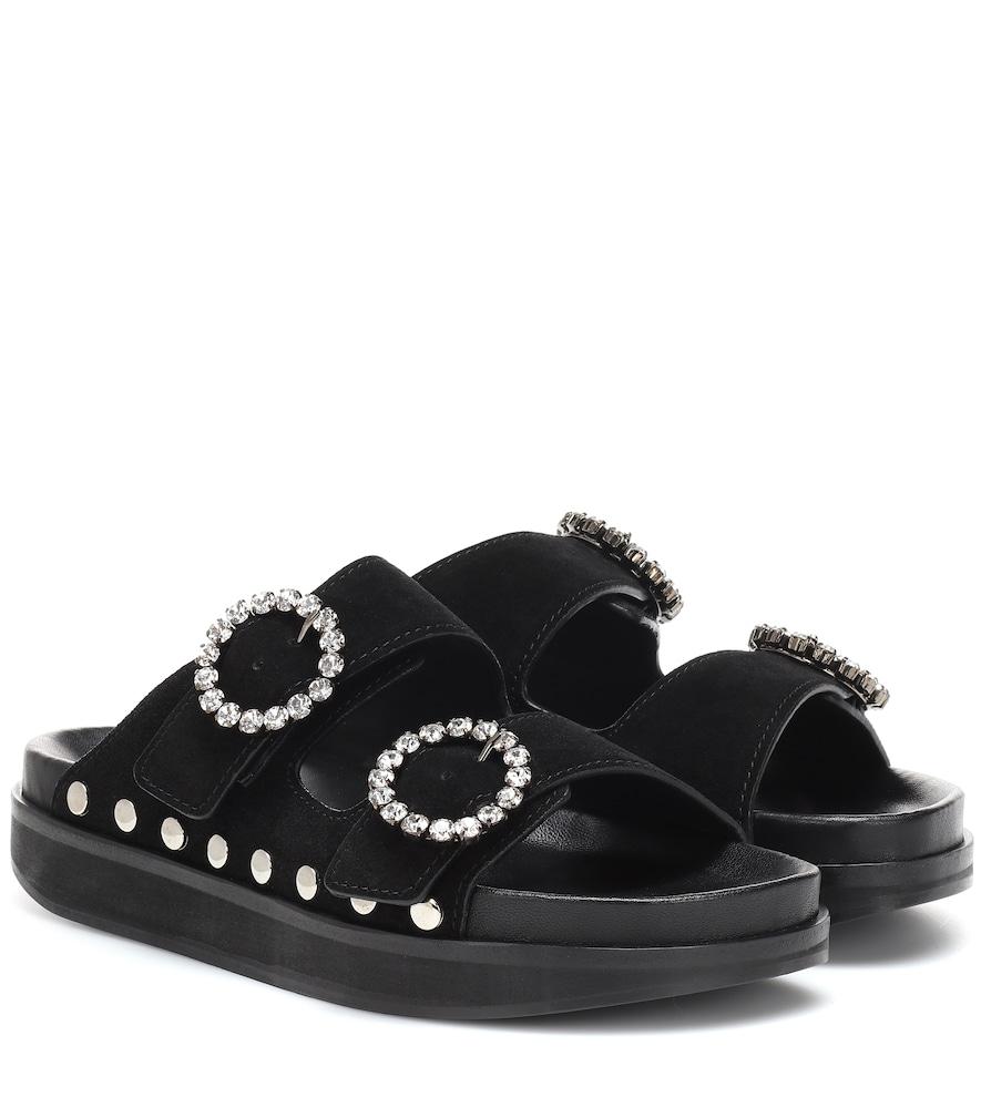 Noodi Crystal Buckle Sandals in Black
