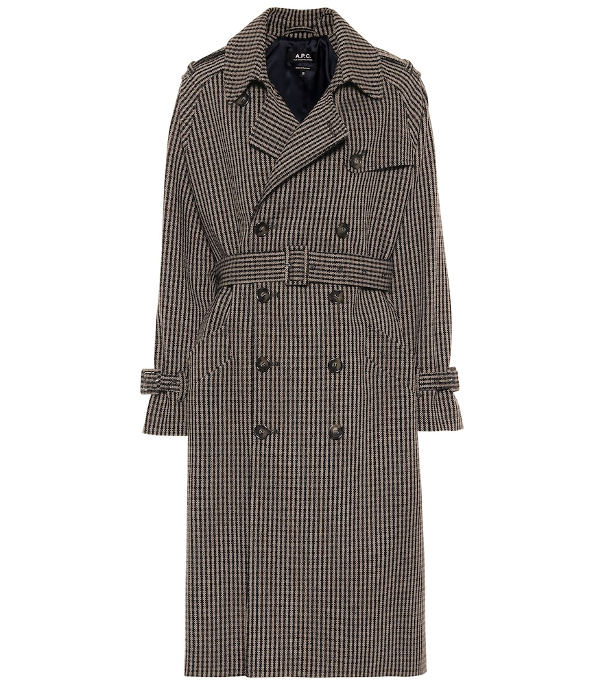 Greta checked wool-blend trench coat