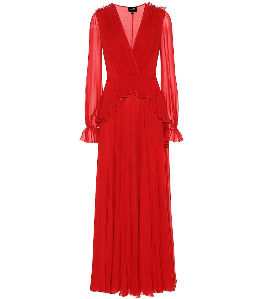 GIAMBATTISTA VALLI Ruffled Silk-Georgette Gown in Red