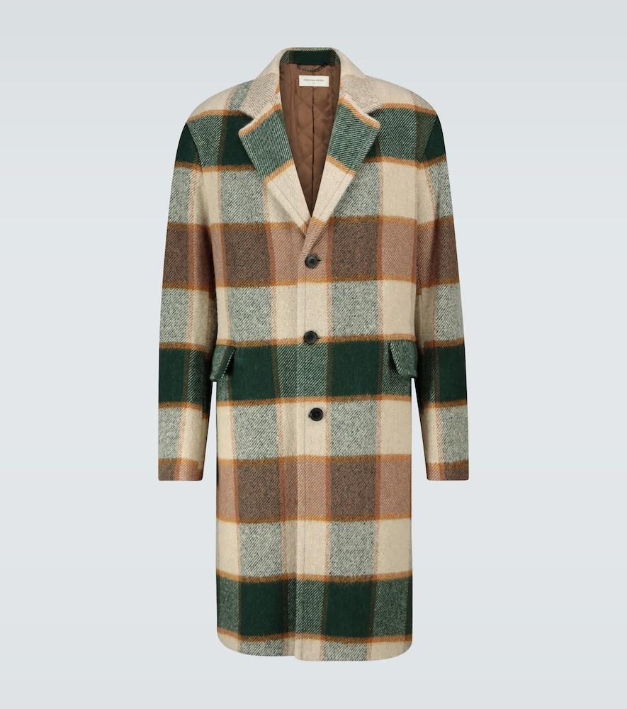 Manteau à carreaux en laine mélangée - Dries Van Noten - Modalova