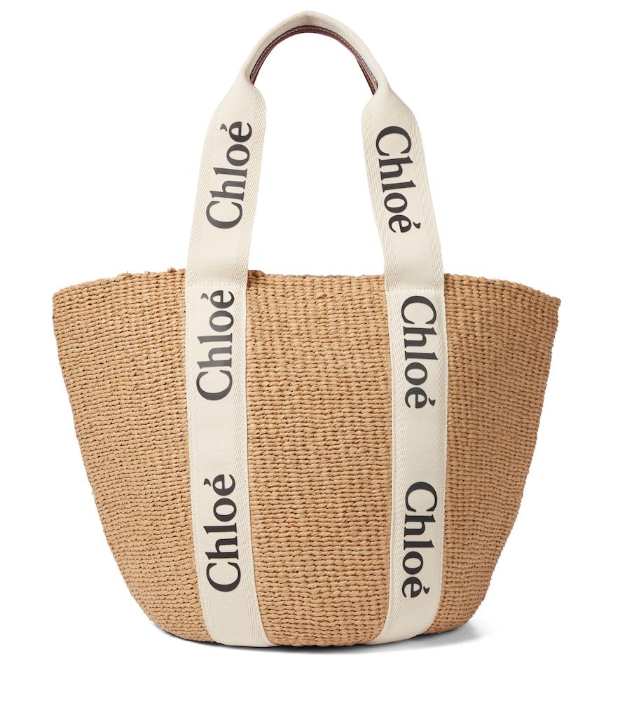 Chloé Large Woody Logo Strap Raffia Basket Bag In White