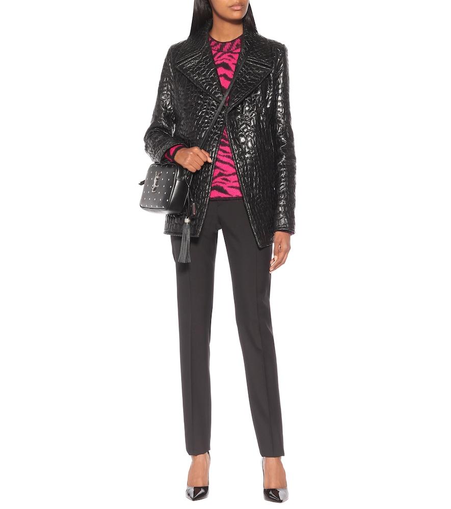 Croc-effect faux leather pea coat by Saint Laurent