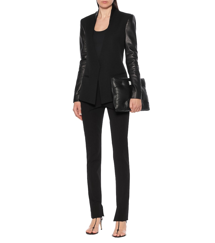 Leather and wool blazer by Helmut Lang