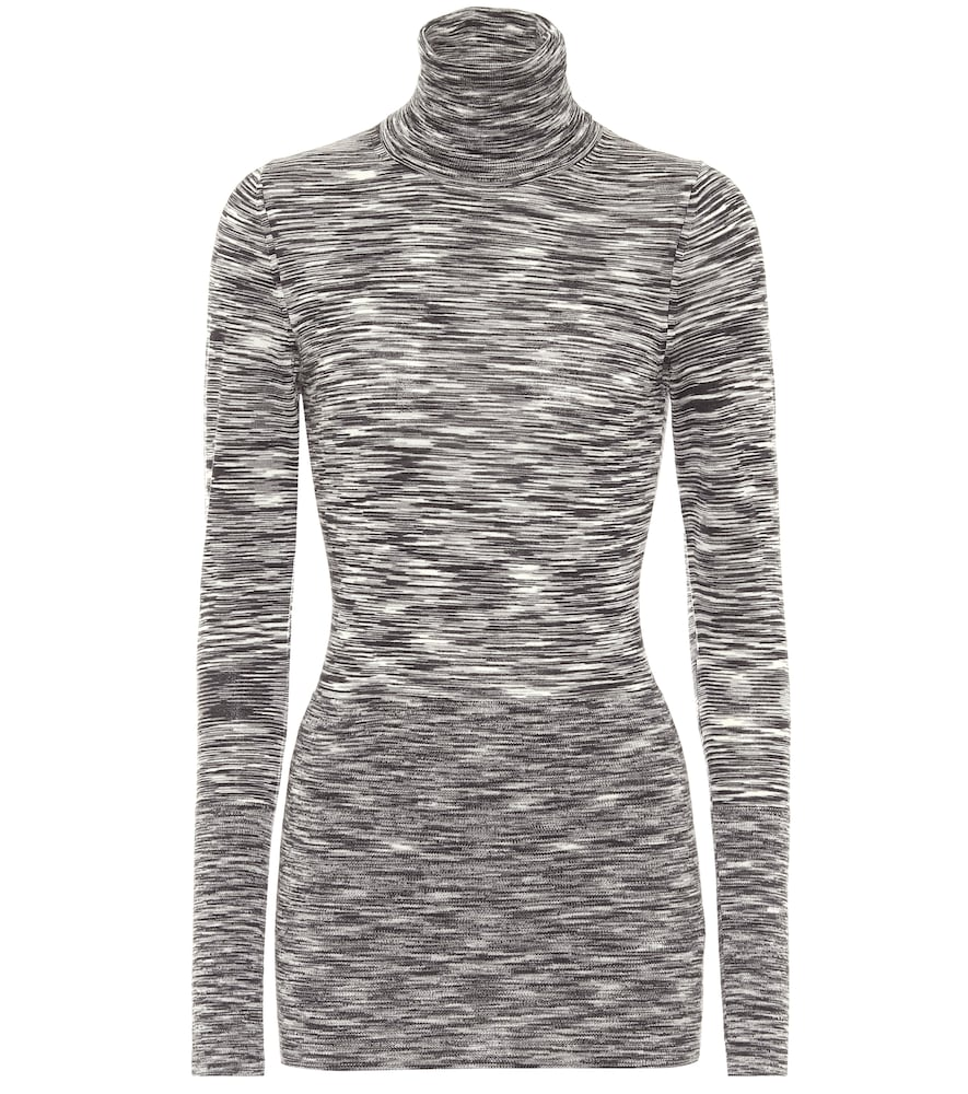 JOSEPH PRINTED WOOL TURTLENECK TOP