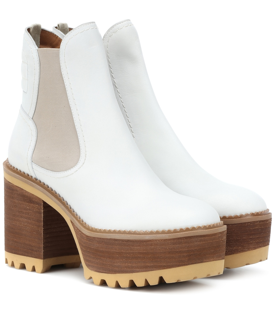 Erika Leather Platform Ankle Boots, White