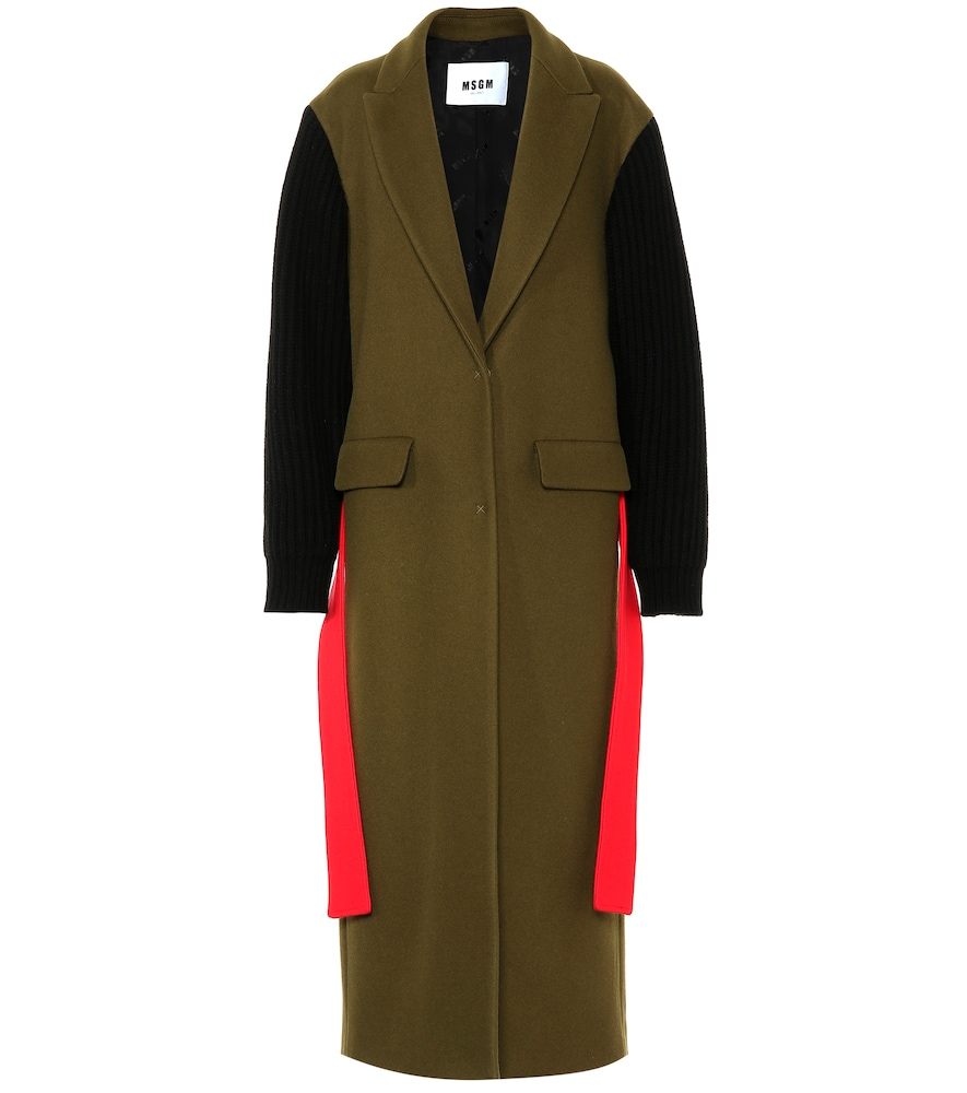 Ribbed Sleeve Belted Wool Blend Coat, Multicoloured
