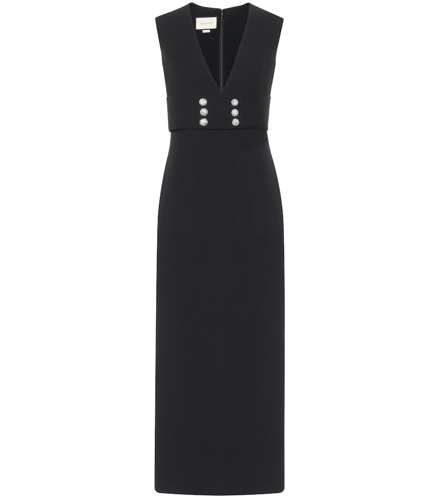Embellished silk and wool cady gown