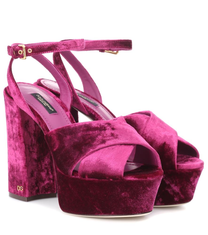 Keira Velvet Plateau Sandals, Purple