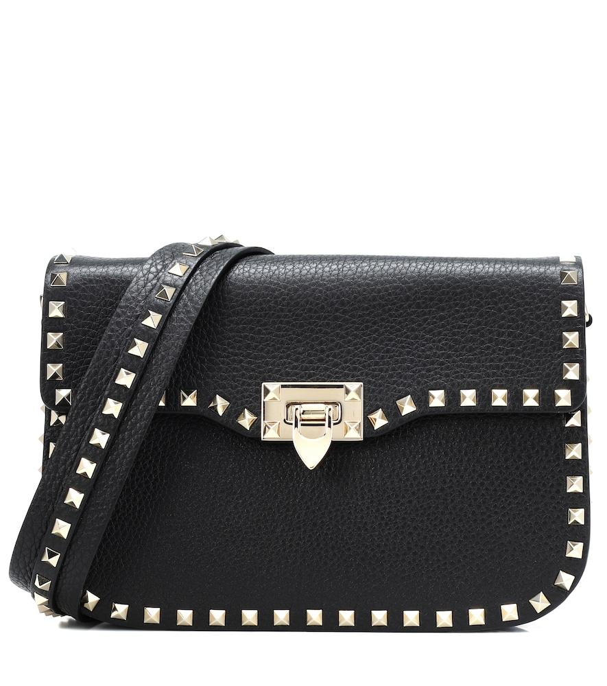 Rockstud Leather Shoulder Bag - Black in Female
