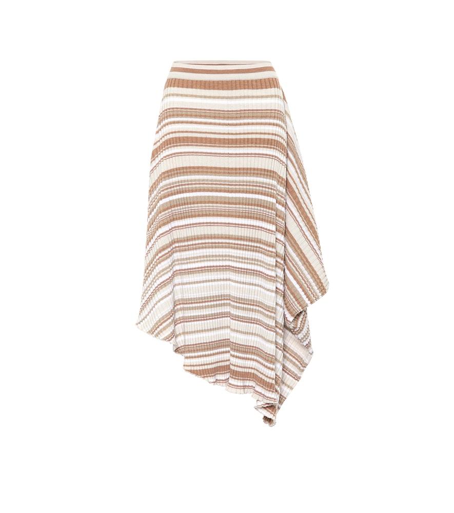 Jupe asymétrique rayée en laine