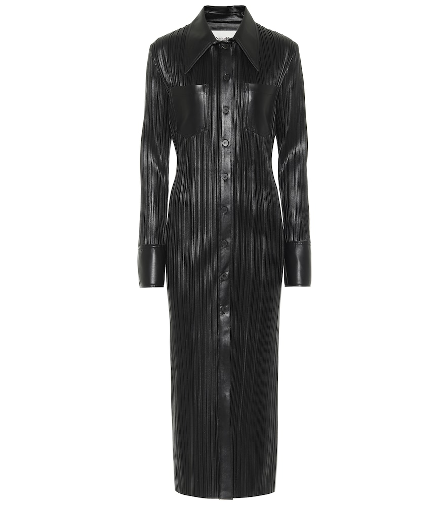 Lee pleated faux leather shirt dress