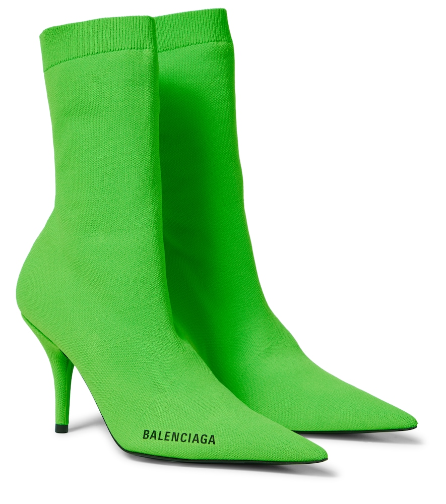 Balenciaga Knife Ankle Boots With Logo In Green