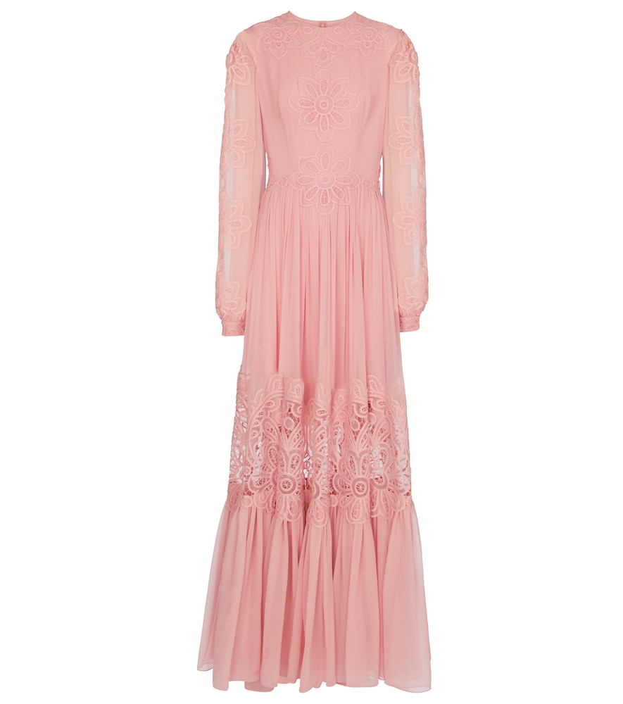 Costarellos Myla Silk Chiffon Bishop Sleeve Gown In Pink