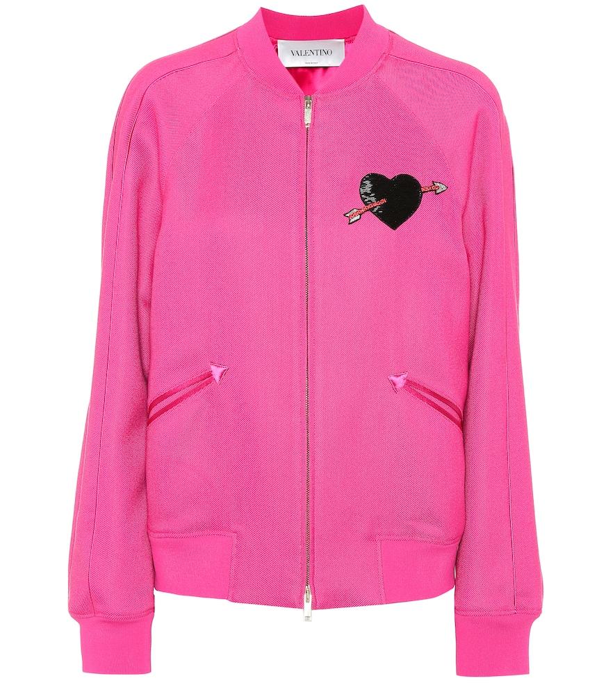 Embellished Twill Bomber Jacket - Pink Size 8 in Vpl Pink