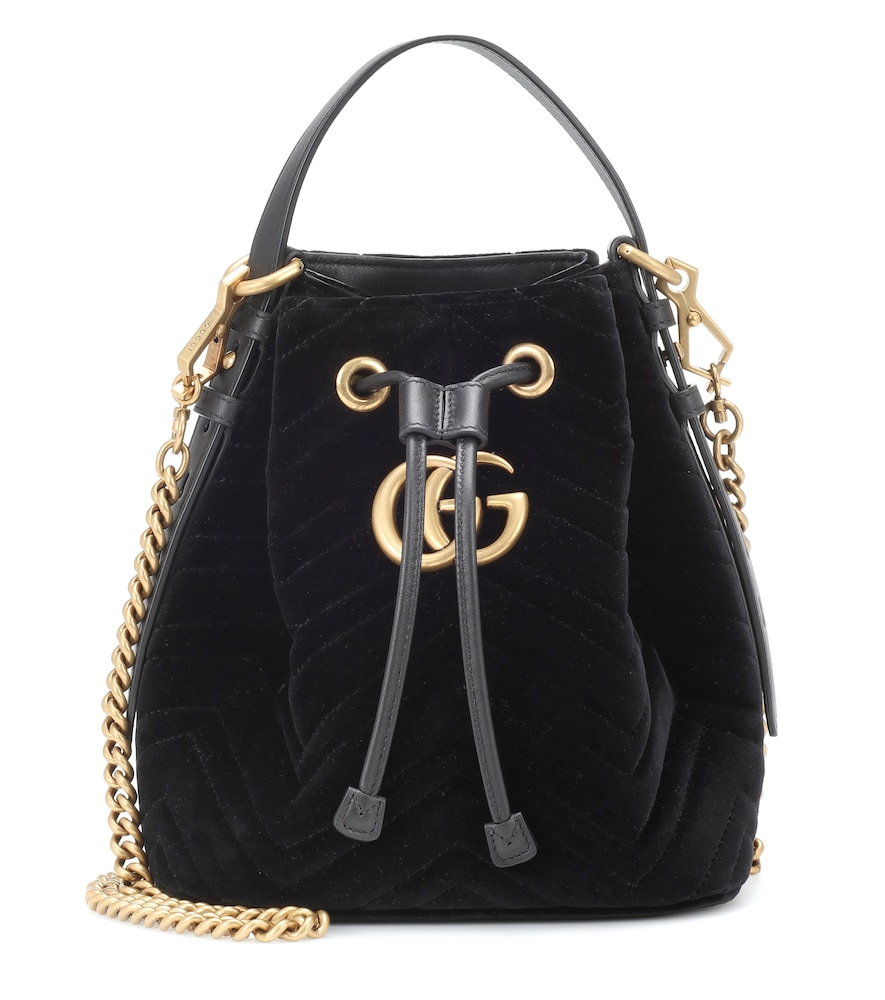 Gg Marmont Leather-Trimmed Quilted Velvet Bucket Bag, Black