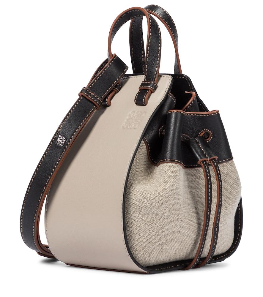 Hammock Mini linen and leather shoulder bag