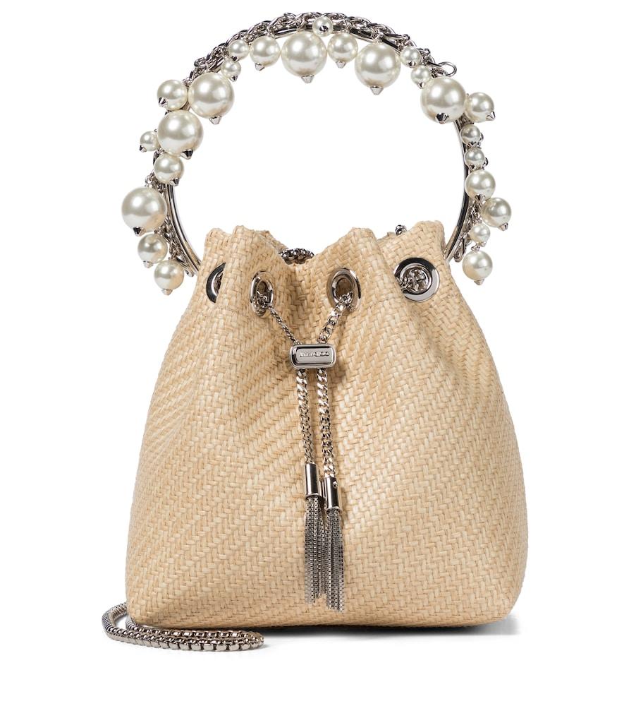 Bon Bon embellished raffia bucket bag